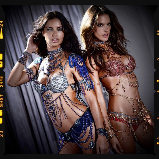 Alessandra ambrosio and adriana lima in VS fantasy bra 2014