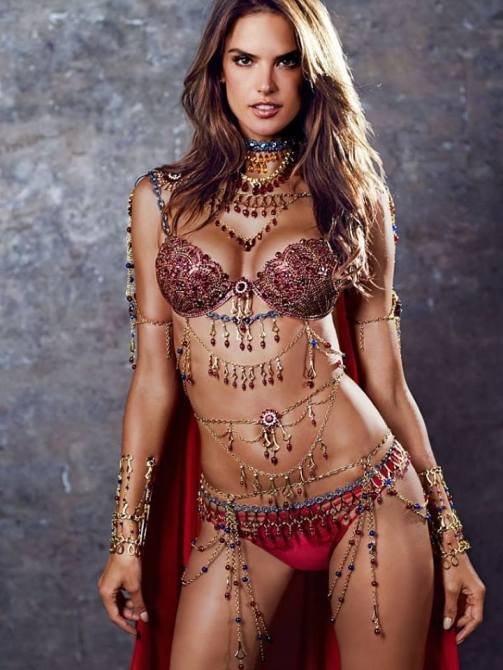 Alessandra Ambrosio wearing read fantasy bra for Victoria Secret 2014 Show