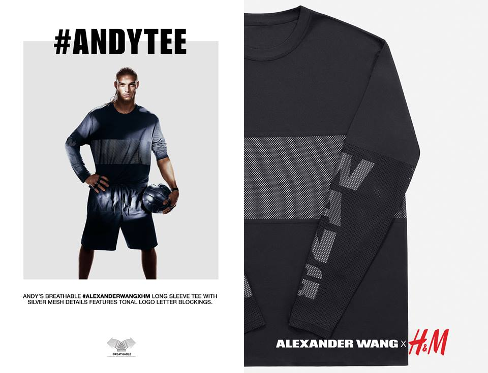 andy tee for HnM Alexander wang collection