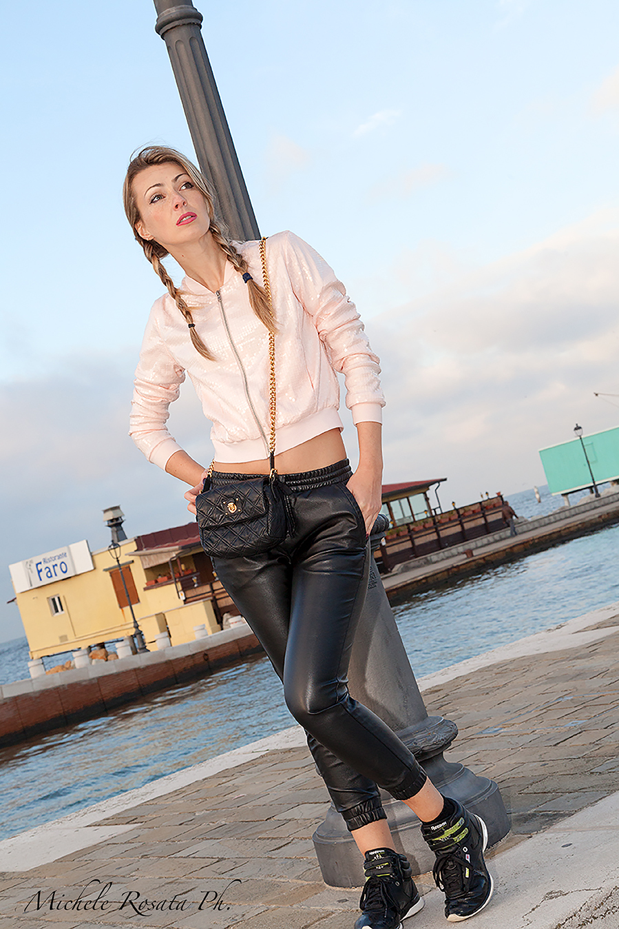black leather urban fashion casual look