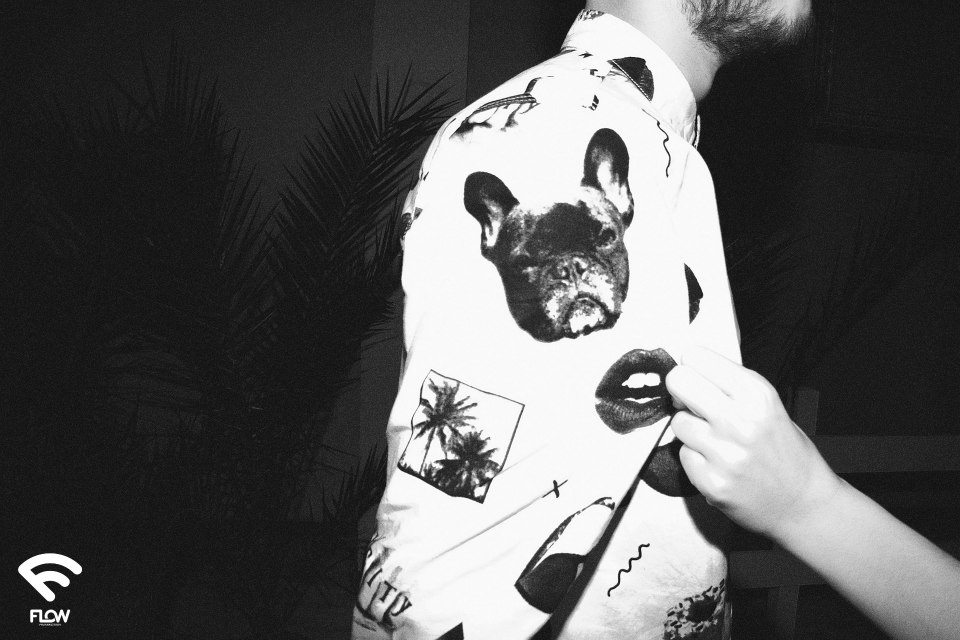 flow fashion men's shirt dogs and lips by anna qzzolin