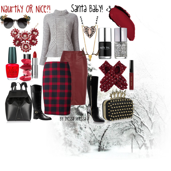 red ad black longuette skirt and sweater winter hot looks