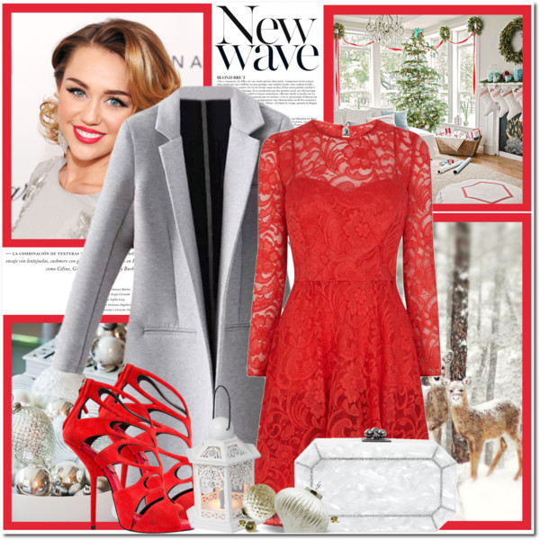 red christmas festive look lace dress and graty coat