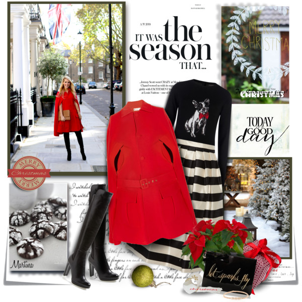 red coat stripped dress and black boots festive winter look