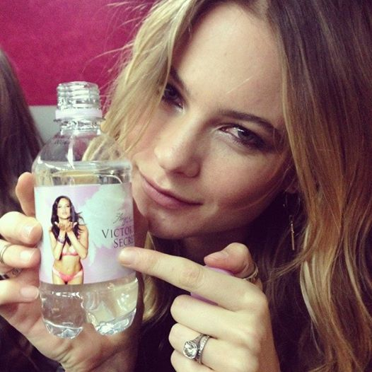 victoria secret model behati prinsloo with vs water on flight