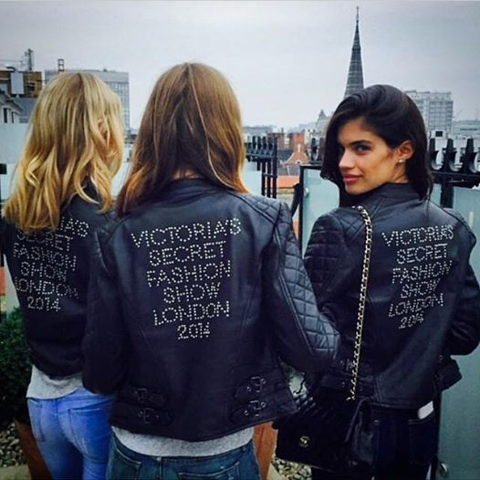 victoria secret models leather jackets for london 2014 show