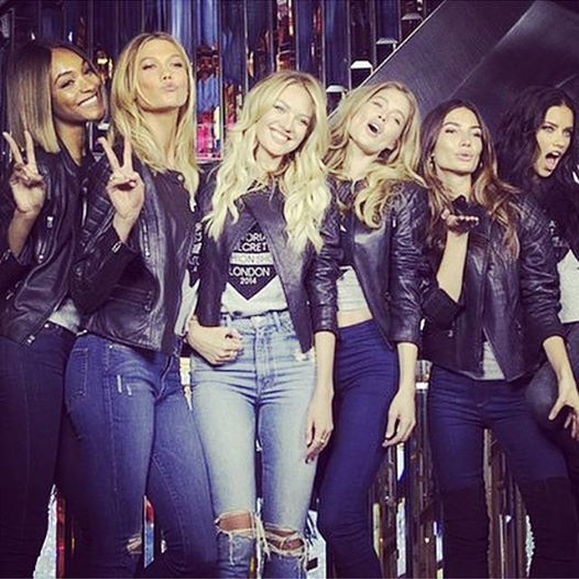vs models karlie candice for bond street store in london in jeans and t-shirts