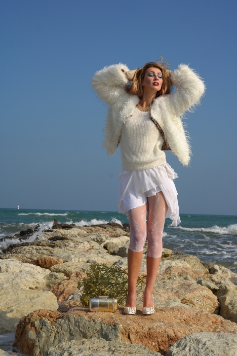 white faur fur jacket and lace transparencies
