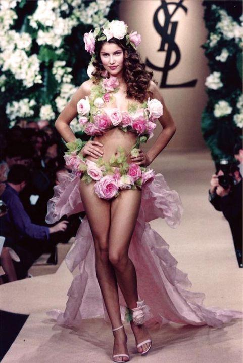 YSL laetitia casta dressed in flowers